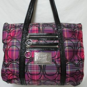 Coach Poppy Glam Tartan Plaid Signature Tote 14360